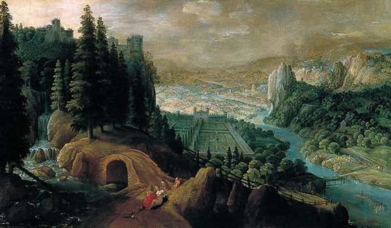Mountainous Landscape with Venus and Adonis.1600