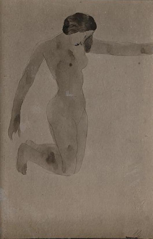 Femme nue agenouillée vers la droite