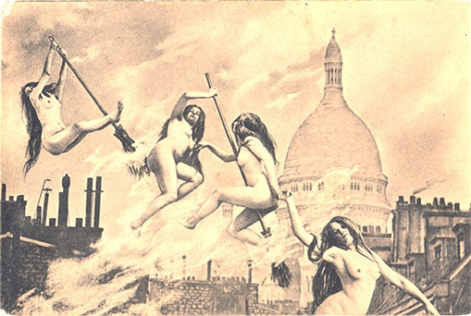 French postcard, Witches' Sabbat in Paris c1910 2