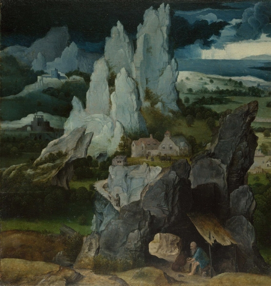 Saint jerome in a rocky landscape