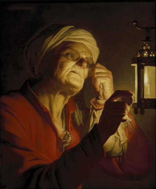 Old woman examining a coin by a lantern (Sight or Avarice)