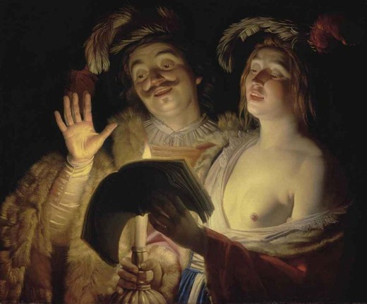 Painted in 1624 at the height of Honthorst's career, The Duet is one of the finest examples of scenes of nocturnal revelry for which the Dutch artist is celebrated