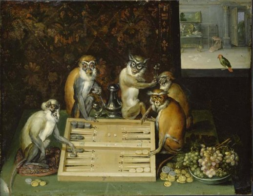 Monkeys playing backgammon
