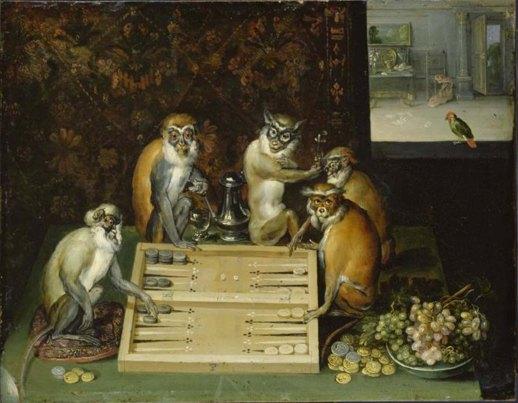 Monkeys playing backgammon