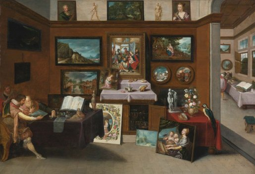 The interior of a picture gallery with connoisseurs admiring paintings